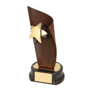 Trofeo hierro oxidado Balón Fútbol Estrella  varios tamaños.  Ref - BP1106