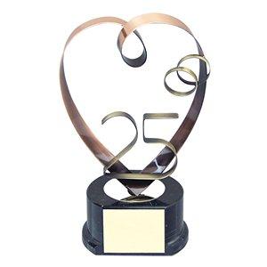Trofeo corazón 25 aniversario  varios tamaños.  Ref - BP693
