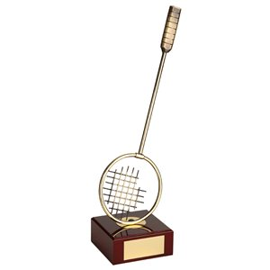 Trofeo raqueta badminton  varios tamaños.  Ref - BP861