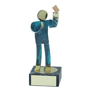 Trofeo Figura latón oxidado verde cm 18 Arbitro varios tamaños.  Ref - BP600/1AR