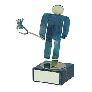 Trofeo Figura latón oxidado verde cm 18 Badminton varios tamaños.  Ref - BP600/1BD