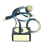 Trofeo Figura latón oxidado verde cm 18 Moto varios tamaños.  Ref - BP600/1MO
