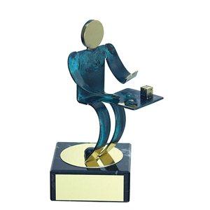 Trofeo Figura latón oxidado verde cm 18 Parchís varios tamaños.  Ref - BP600/1PH