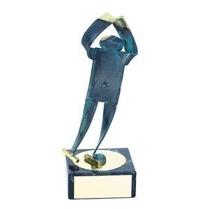 Trofeo Figura latón oxidado verde cm 18 Patinaje hielo varios tamaños.  Ref - BP600/1PM