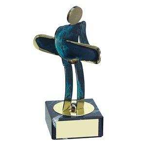 Trofeo Figura latón oxidado verde cm 18 Surf varios tamaños.  Ref - BP600/1 SS