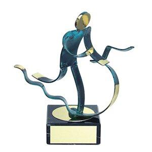 Trofeo Figura latón oxidado verde cm 18 Triathlon varios tamaños.  Ref - BP600/1 TH